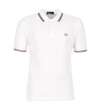 Oblečenie Muži Polokošele s krátkym rukávom Fred Perry SLIM FIT TWIN TIPPED Biela / Červená