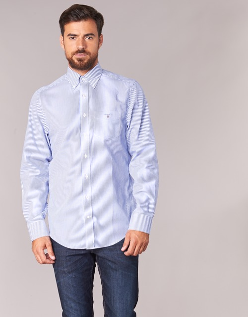 5a2c1fbe6c9e Oblečenie Muži Košele s dlhým rukávom Gant THE POPLIN BANKER STRIPE Modrá
