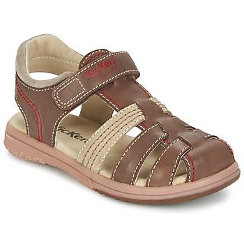 Topánky Chlapci Sandále Kickers PLATINIUM Hnedá