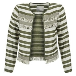 Oblečenie Ženy Saká a blejzre Vero Moda FRILL Kaki / Krémová