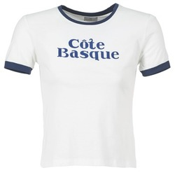 Oblečenie Ženy Tričká s krátkym rukávom Loreak Mendian COTE BASQUE Krémová / Námornícka modrá