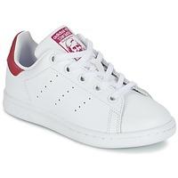 Topánky Dievčatá Nízke tenisky adidas Originals STAN SMITH EL C Biela / Ružová