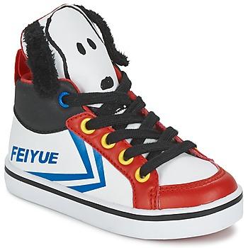 Topánky Deti Členkové tenisky Feiyue DELTA MID PEANUTS Biela / čierna / červená