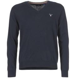 Oblečenie Muži Svetre Gant COTTON WOOL V-NECK Námornícka modrá