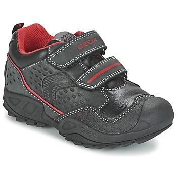 Topánky Chlapci Nízke tenisky Geox NEW SAVAGE BOY čierna / červená