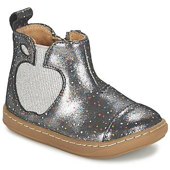 Topánky Dievčatá Polokozačky Shoo Pom BOUBA APPLE Strieborná