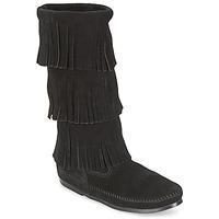 Topánky Ženy Čižmy do mesta Minnetonka CALF HI 3 LAYER FRINGE BOOT Čierna