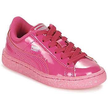 Topánky Dievčatá Nízke tenisky Puma BASKET PATENT ICED GLITTER PS Ružová