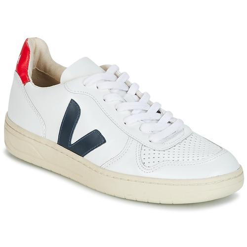 Topánky Nízke tenisky Veja V-10 Biela / Modrá / Červená