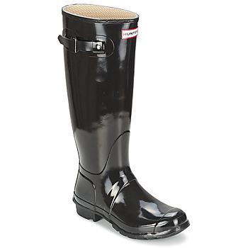 Topánky Ženy Čižmy do dažďa Hunter WOMEN'S ORIGINAL TALL GLOSS Čierna