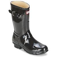 Topánky Ženy Čižmy do dažďa Hunter WOMEN'S ORIGINAL SHORT GLOSS Čierna
