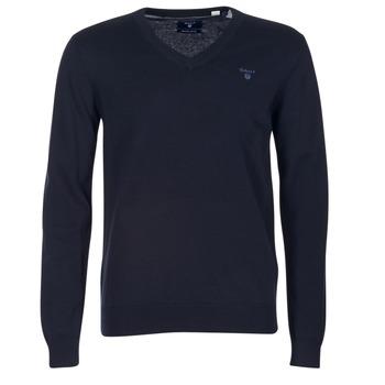 Oblečenie Muži Svetre Gant WEIGHT COTTON V NECK Námornícka modrá