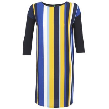 Oblečenie Ženy Krátke šaty Benetton VAGODA Modrá / Žltá / Biela