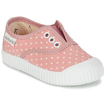 Topánky Dievčatá Nízke tenisky Victoria INGLESA LUNARES ELASTICO Ružová / Biela