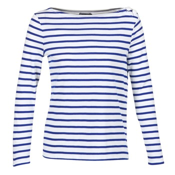 Oblečenie Ženy Tričká s dlhým rukávom Petit Bateau FIX Biela / Modrá