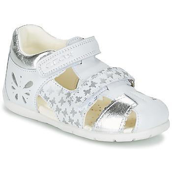 Topánky Dievčatá Sandále Geox B KAYTAN G. C Biela / Strieborná