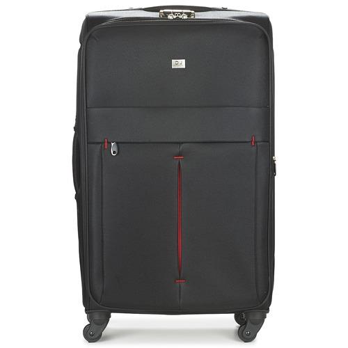 Tašky Pružné cestovné kufre David Jones JAVESKA 111L Čierna