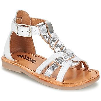 Topánky Dievčatá Sandále Citrouille et Compagnie GITANOLO Biela / Strieborná