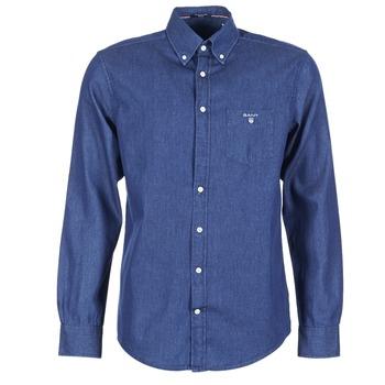 Oblečenie Muži Košele s dlhým rukávom Gant THE INDIGO SHIRT Modrá