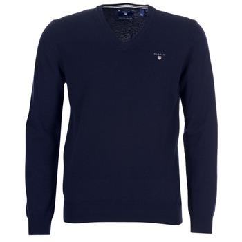Oblečenie Muži Svetre Gant SUPER FINE LAMBSWOOL V-NECK Námornícka modrá