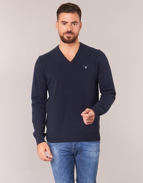 f00daf85f60f Oblečenie Muži Svetre Gant SUPER FINE LAMBSWOOL V-NECK Námornícka modrá
