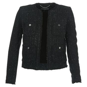 Oblečenie Ženy Saká a blejzre MICHAEL Michael Kors FRAY TWD 4PKT JKT Čierna / Strieborná