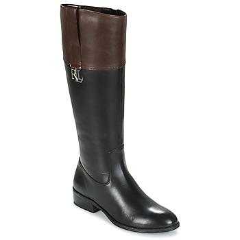 Topánky Ženy Čižmy do mesta Ralph Lauren MERRIE čierna / Hnedá