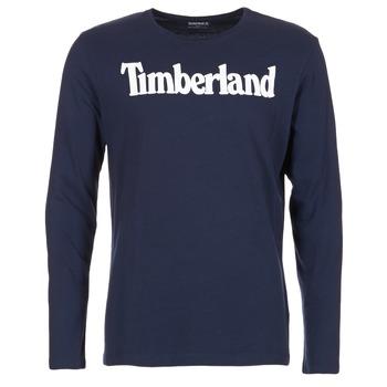 Oblečenie Muži Tričká s dlhým rukávom Timberland LINEAR LOGO PRINT RINGER Námornícka modrá