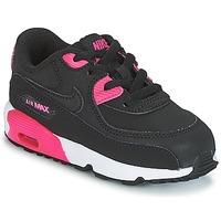 Topánky Dievčatá Nízke tenisky Nike AIR MAX 90 LEATHER TODDLER čierna / Ružová