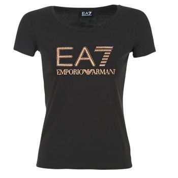 Oblečenie Ženy Tričká s krátkym rukávom Emporio Armani EA7 TRAIN LOGO SERIES GLITTER čierna / Zlatá / Ružová