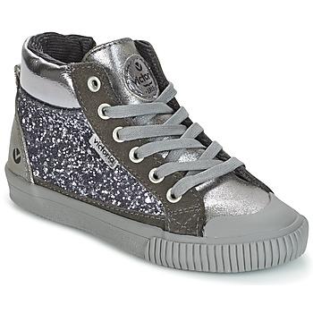 Topánky Dievčatá Členkové tenisky Victoria BOTA PIEL PU/GLITTER Strieborná
