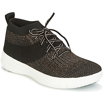 Topánky Ženy Členkové tenisky FitFlop UBERKNIT SLIP-ON HIGH TOP SNEAKER Čierna / Bronzová