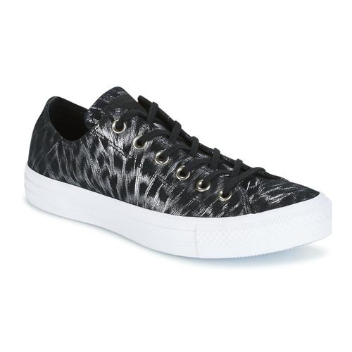Topánky Ženy Nízke tenisky Converse CHUCK TAYLOR ALL STAR SHIMMER SUEDE OX BLACK/BLACK/WHITE Čierna / Biela