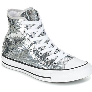Topánky Ženy Členkové tenisky Converse CHUCK TAYLOR ALL STAR SEQUINS HI SILVER/WHITE/BLACK Strieborná