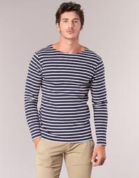 Oblečenie Muži Tričká s dlhým rukávom Armor Lux GELGA Námornícka modrá / Biela