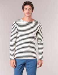 Oblečenie Muži Tričká s dlhým rukávom Armor Lux GELGA Biela / Námornícka modrá