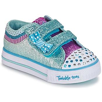 Topánky Dievčatá Nízke tenisky Skechers Shuffles Biela / Modrá