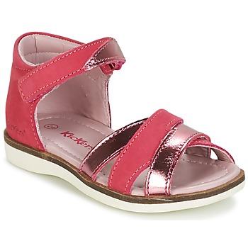Topánky Dievčatá Sandále Kickers GIGI Fuksiová / Ružová / Metalická