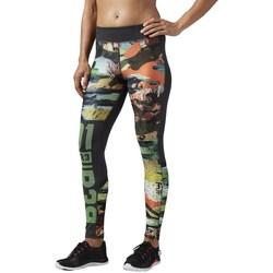 Oblečenie Ženy Legíny Reebok Sport OS Elite Mesh Tight Čierna, Zelená, Oranžová