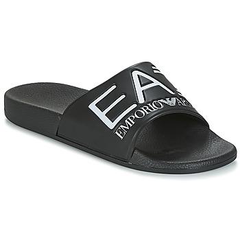 Topánky Muži športové šľapky Emporio Armani EA7 SEA WORLD VISIBILITY M SLIPPER Čierna / Biela