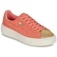 Topánky Dievčatá Nízke tenisky Puma SUEDE PLATFORM GLAM JR Oranžová / Zlatá