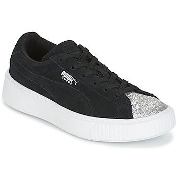 Topánky Dievčatá Nízke tenisky Puma SUEDE PLATFORM GLAM PS Čierna / Strieborná