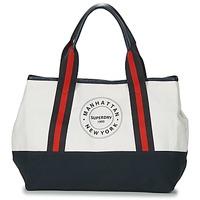 Tašky Ženy Veľké nákupné tašky  Superdry BAYSHORE BEACH TOTE Biela / Námornícka modrá / Červená