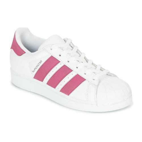 36007f966ab05 Topánky Dievčatá Nízke tenisky adidas Originals SUPERSTAR J Biela / Ružová