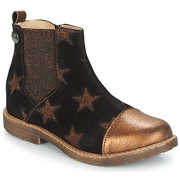 Topánky Dievčatá Polokozačky GBB LEONTINA Čierna / Bronzová