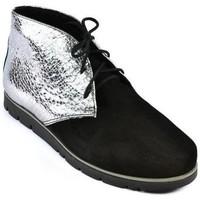 Topánky Ženy Čižmičky Carsona Dámske čierno-strieborné kožené topánky ZEFIR čierna