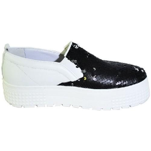 Topánky Ženy Slip-on John-C Čiernobiele mokasíny na vysokej platforme s flitrami CORRA biela