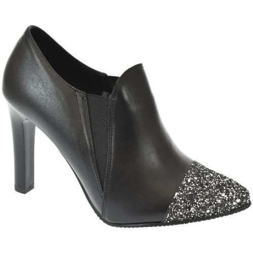 Topánky Ženy Čižmičky John-C DÁMSKE ČIERNE LESKLÉ POLTOPÁNKY DIAMOND čierna