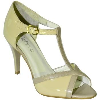 Topánky Ženy Sandále John-C DÁMSKE BÉŽOVÉ LAKOVANÉ KOŽENÉ SANDÁLE NOARI béžová