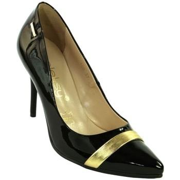 Topánky Ženy Lodičky Mmo DÁMSKE ČIERNE KOŽENÉ LAKOVANÉ LODIČKY PATRINIA čierna